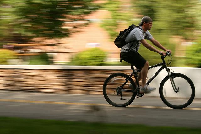 Motion blur, man on a bike