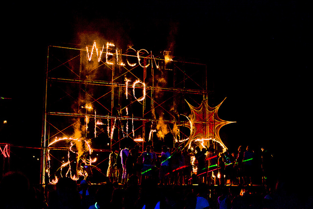 full moon party fire